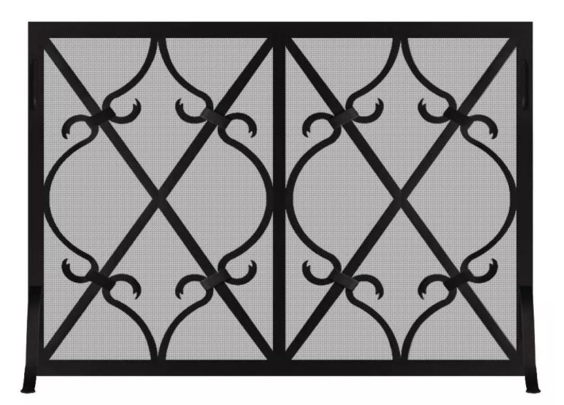 Steel Custom Single Panel Fireplace Screen -Banded Scroll - ExceptionalFire
