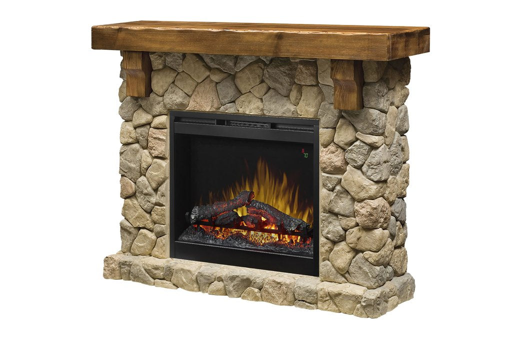 Dimplex Fieldstone® Rustic Electric Fireplace Mantel Package with Logs GDS26L5-904ST - ExceptionalFire