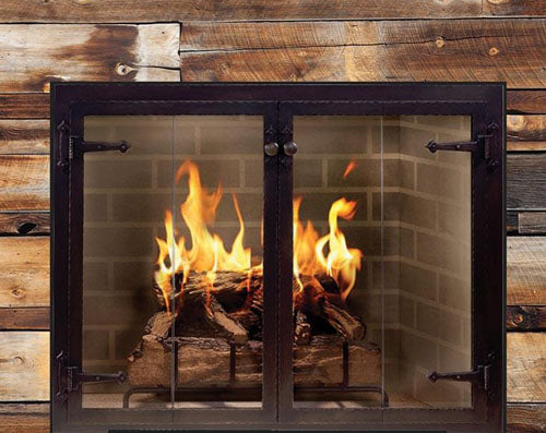 Steel Fireplace Glass Door Masonry & Zero Clearance - Hammered Edge - ExceptionalFire