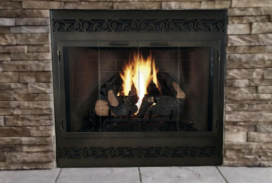 Steel Fireplace Glass Door With Vents Zero Clearance - Legend ZC Deluxe Direct Vent - ExceptionalFire
