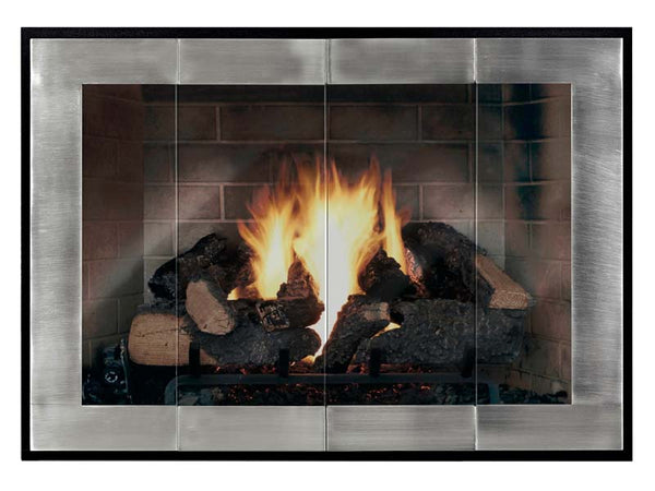 Steel Fireplace Glass Door Masonry & Zero Clearance - Original Moderne