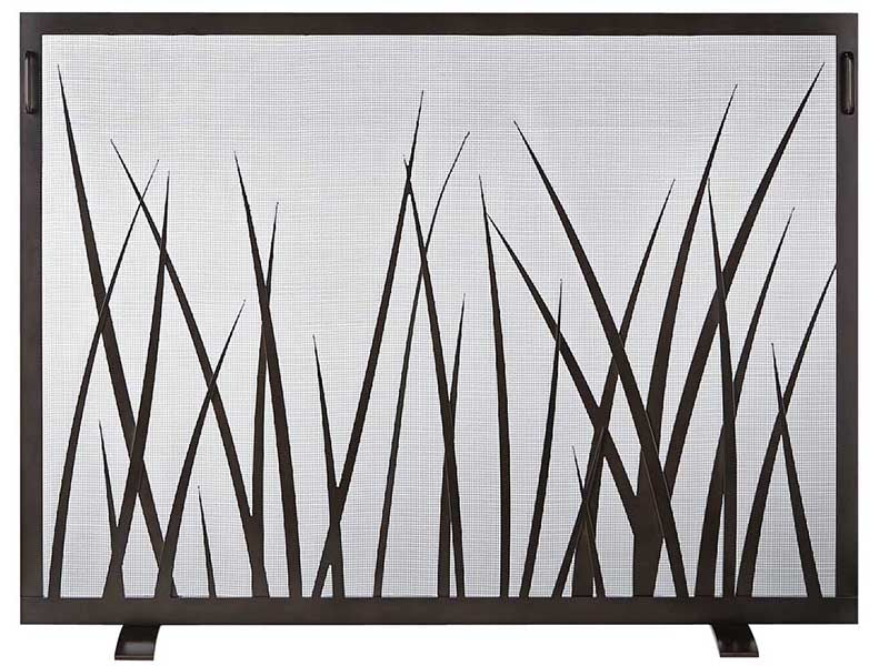 Steel Custom Single Panel Fireplace Screen -SawGrass - ExceptionalFire