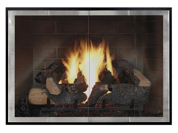 Steel Fireplace Glass Door Masonry & Zero Clearance - Slim Moderne - ExceptionalFire