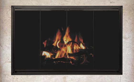 Aluminum Fireplace Glass Doors Masonry - Stiletto Cutback - ExceptionalFire