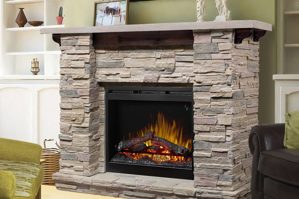 "Dimplex Featherston® 26"" Electric Fireplace Mantel Package - Ledgerock GDS26L5-1152LR - ExceptionalFire"