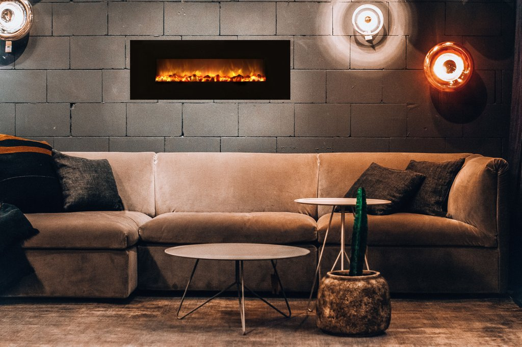 "Modern Flames Builder Series Slim Fire 40"" Wall Mount Electric Fireplace - No Heat SF40/BILV - ExceptionalFire"
