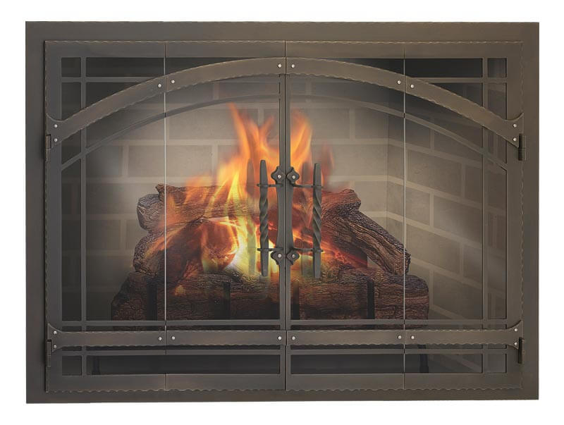 Steel Fireplace Glass Door Masonry & Zero Clearance - Madrid - ExceptionalFire