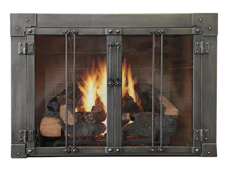 Forge Fireplace Glass Door Masonry & Zero Clearance - Milwaukee with bars - ExceptionalFire