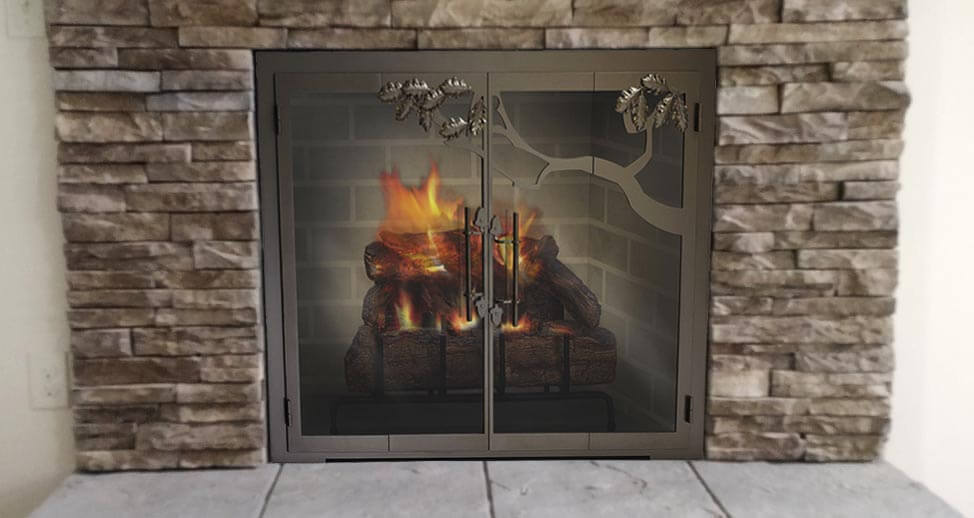Steel Fireplace Glass Door Masonry & Zero Clearance - Oak Tree - ExceptionalFire