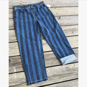 BDG Striped Cropped Jeans