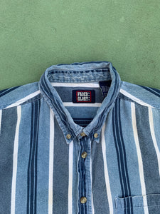FADED GLORY Vintage Striped Button-Down Shirt
