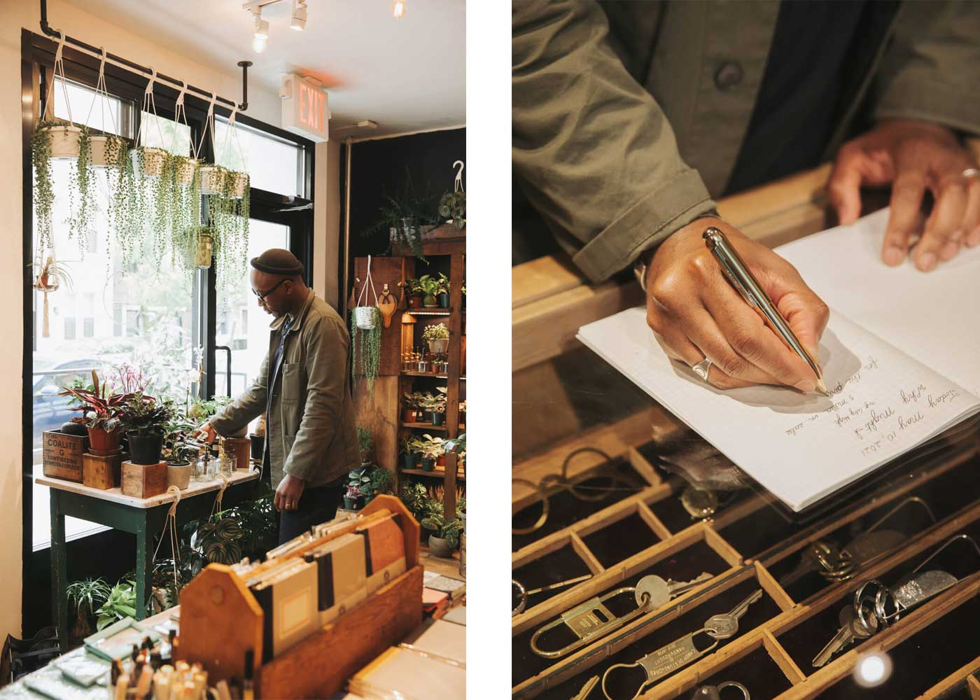 CORNERSHOP HIGHTIDE BROOKLYN NEW YORK interior shared with The Moss and Green window and glass display case