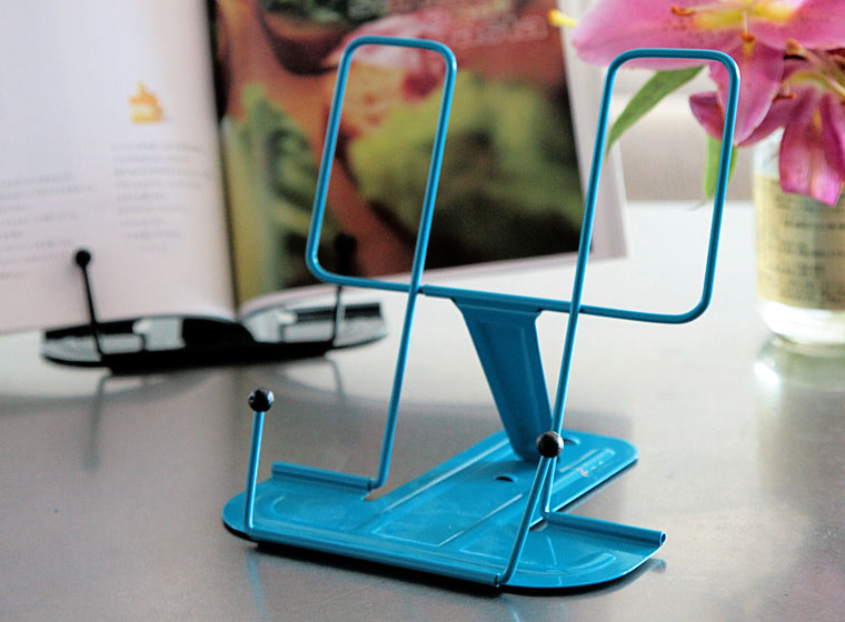 hightide metal book stand on desk by in blue