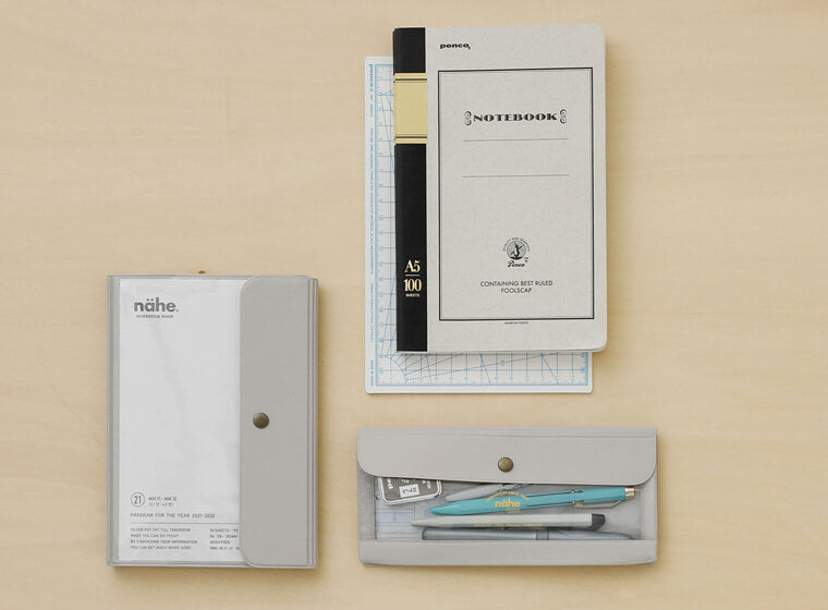 nähe general purpose case by hightide in wide size in ivory with planner and foolscap notebook