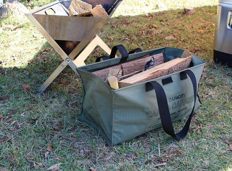 hightide cargo bag in khaki, large size used to store logs at a camping site
