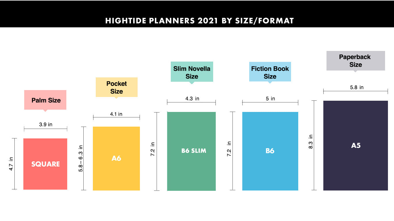 hightide planners 2021 size chart