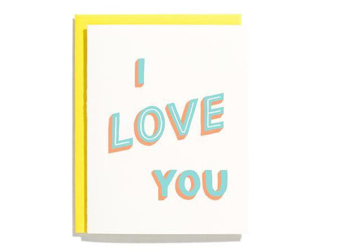 """I LOVE YOU"" Hand Lettered Card"