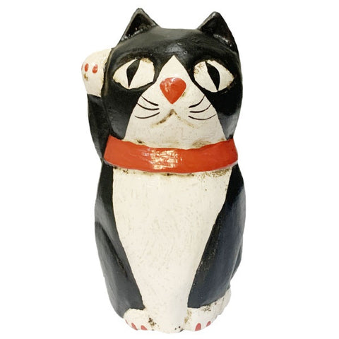 Wooden Doll/ Beckoning Cat/ Bicolor/ M