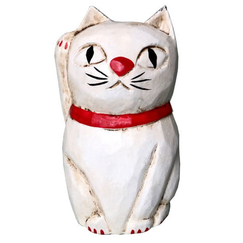 Wooden Doll/ Beckoning Cat / White/ S