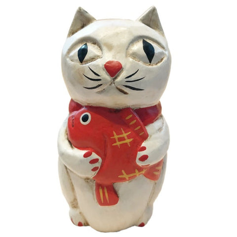 Wooden Doll/ White Cat with Sea Bream/ M