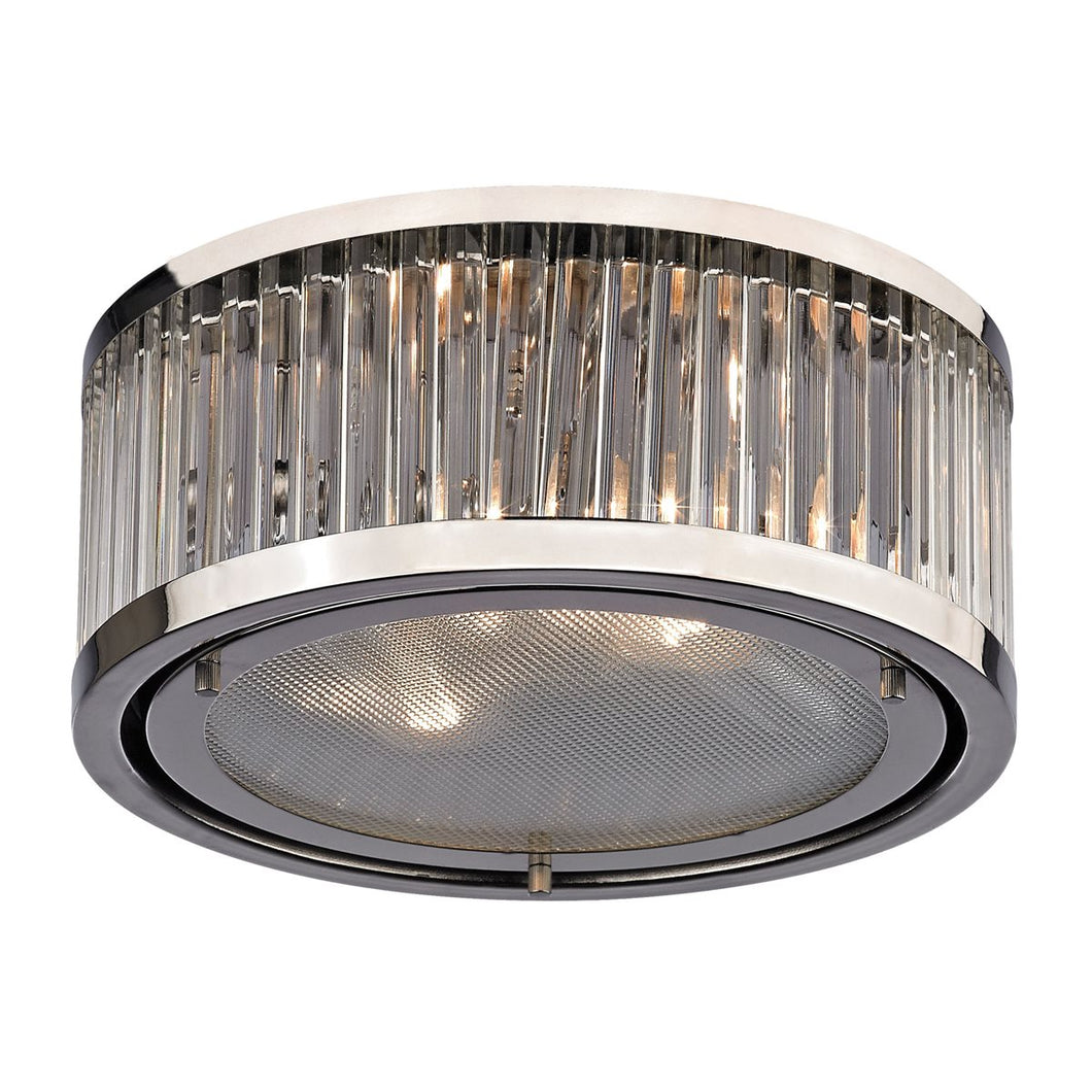 Linden Manor 2-Light Flush Mount in Polished Nickel with Diffuser