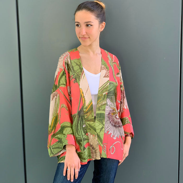 Coral Passion Flower Short Kimono (one size fits most)