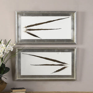 Pheasant Feathers Set of 2 Wall Art