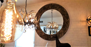 Large Round Drift Wood Mirror