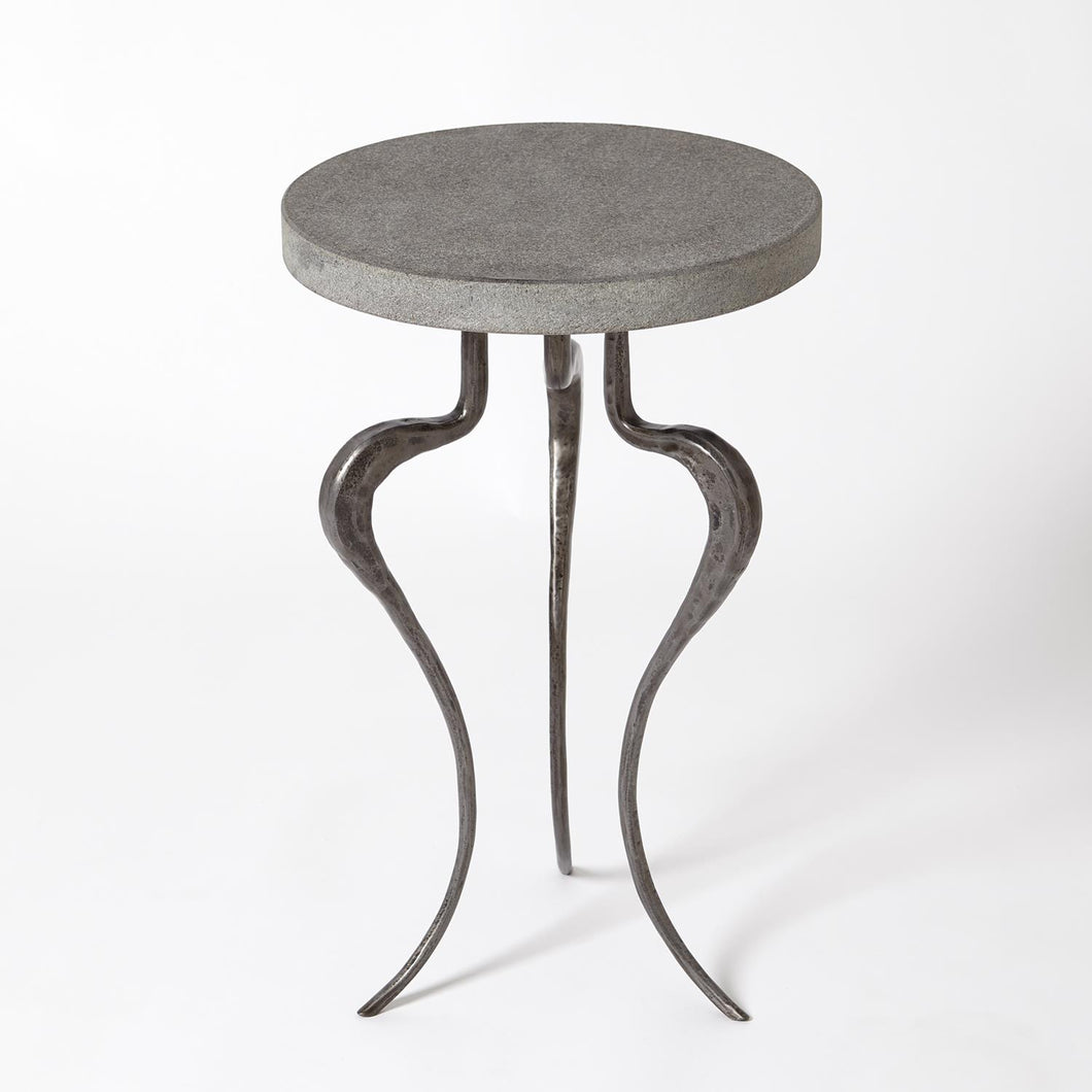 Silhouette Accent Table Black Iron w/Flamed Granite Top