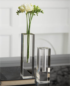 Square Crystal Glass Vases Set of 2