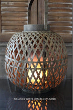 Load image into Gallery viewer, Wood Lattice Lantern W/White Crackle Cylinder included