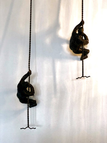 Climbing Man Mounted Wall Art in Bronze