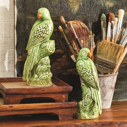 Tropical Green Parrot Sculptures Set