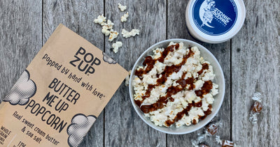 Butter Popcorn with Caramel Sauce & Marshmallow Creme