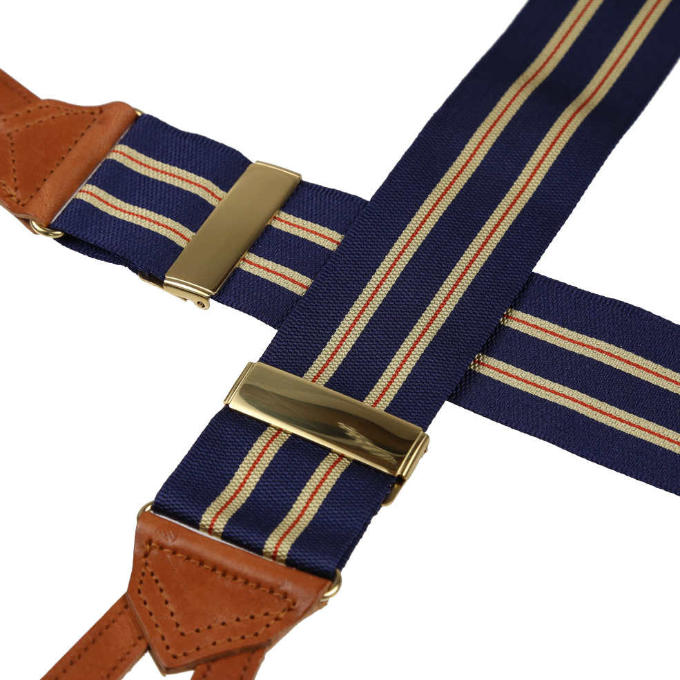 Striped Navy Blue Cream Leather Runner End Trouser Braces Suspenders