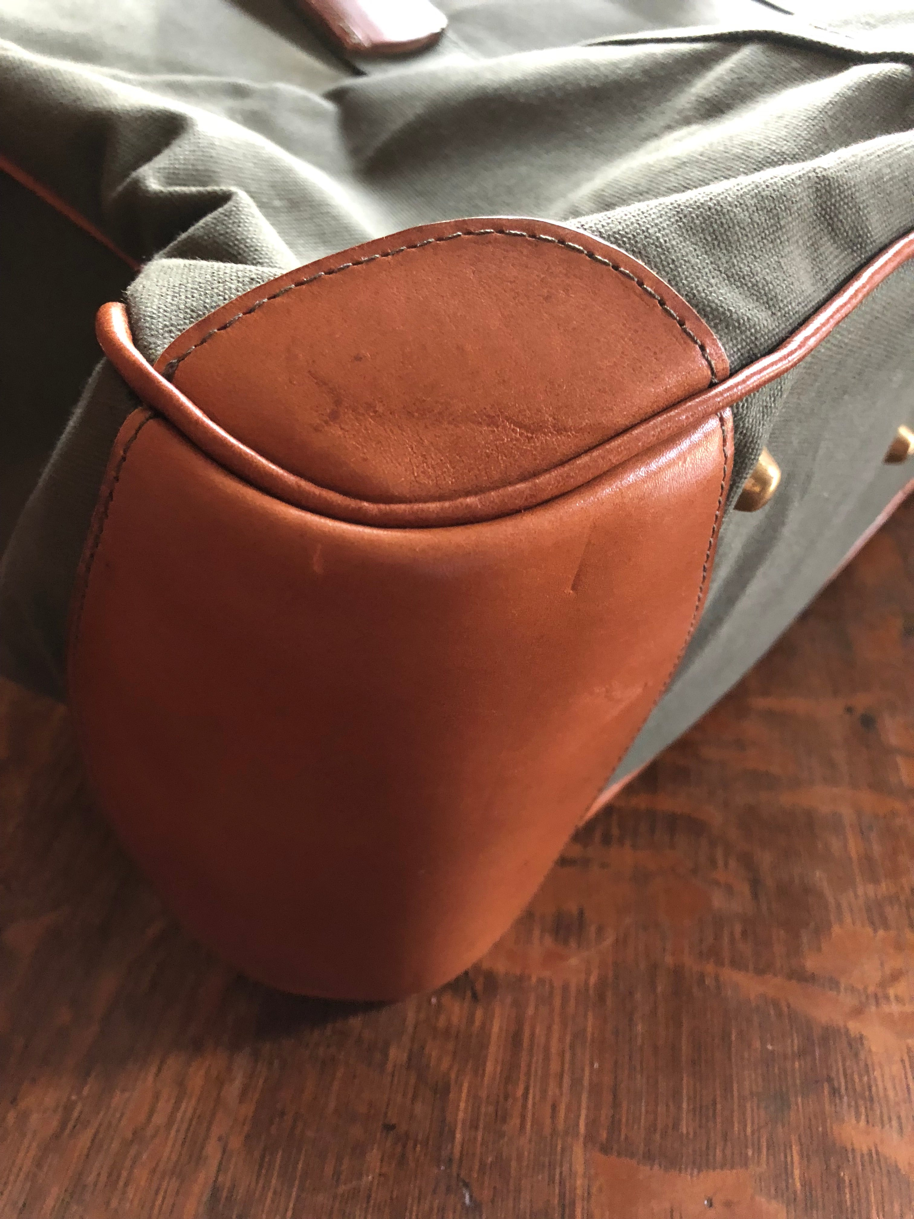 1940s Leather and Canvas kit bag