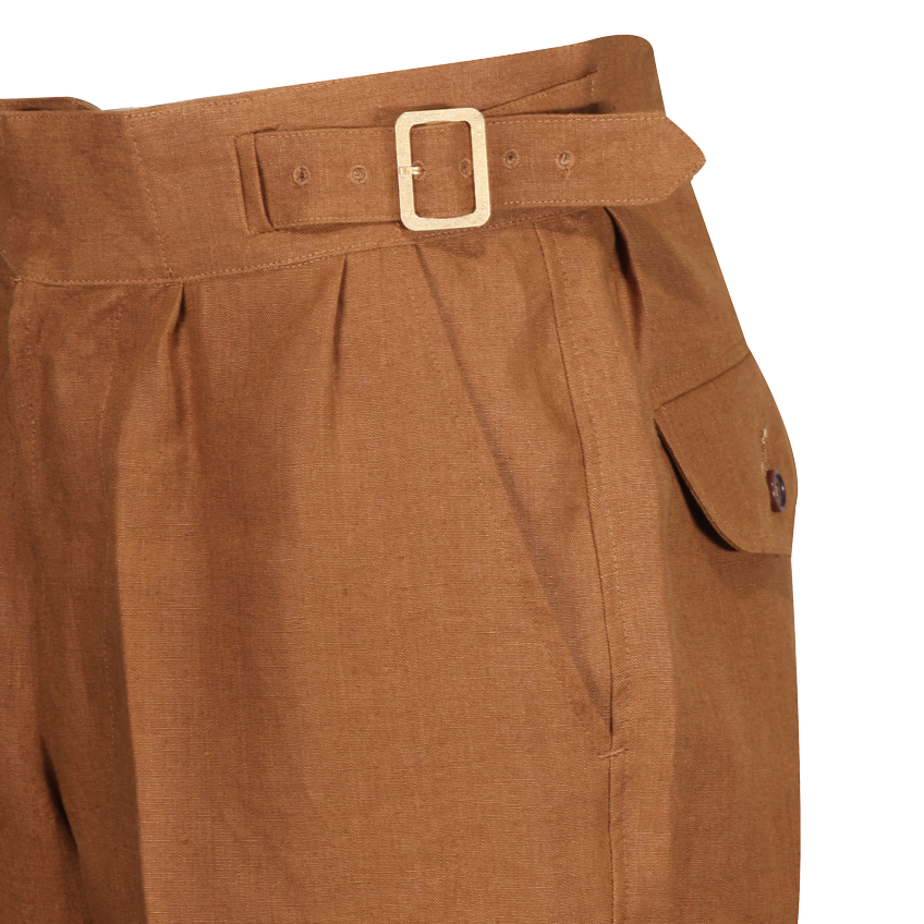 Unisex 1940s Laszlo trouser in brown Irish linen