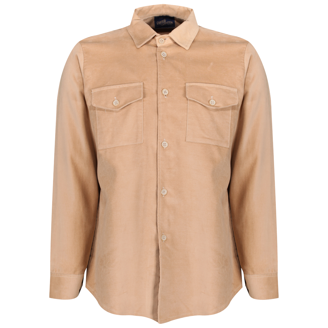 Vintage 1950s tan moleskin work shirt