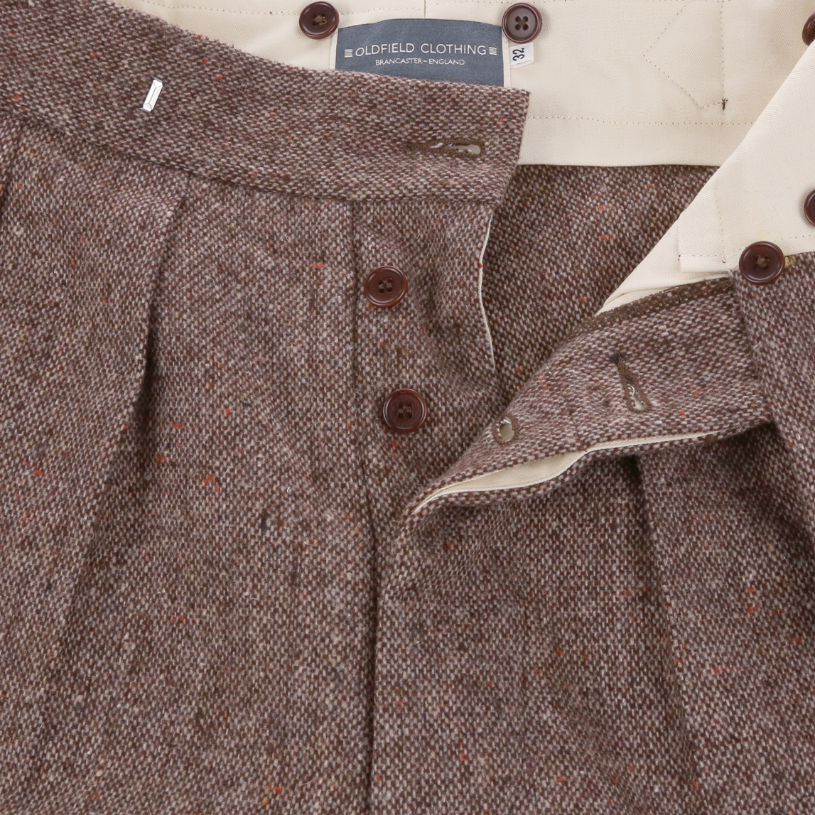 """The Ralph"" Trouser 1930s mid weight brown Donegal Tweed"