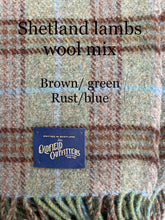 Shetland wool Blanket with English Crafted Vintage leather handle and straps
