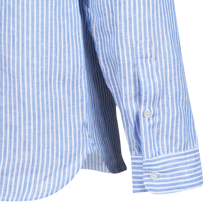 Linen Shirt Blue & White Stripe- Vintage collar