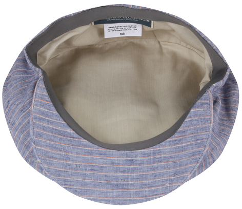 Linen Cap Light Blue With Pink Stripes