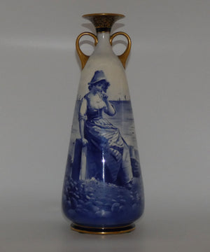 Doulton Burslem Blue Childrens large twin handle vase