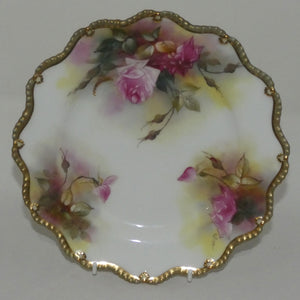 Royal Worcester hand painted and gilt Roses plate (Fildes)