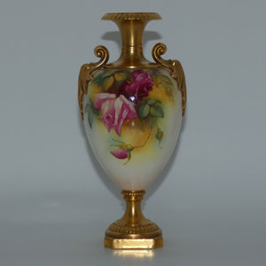Royal Worcester hand painted roses handled vase with square base (Hunt)