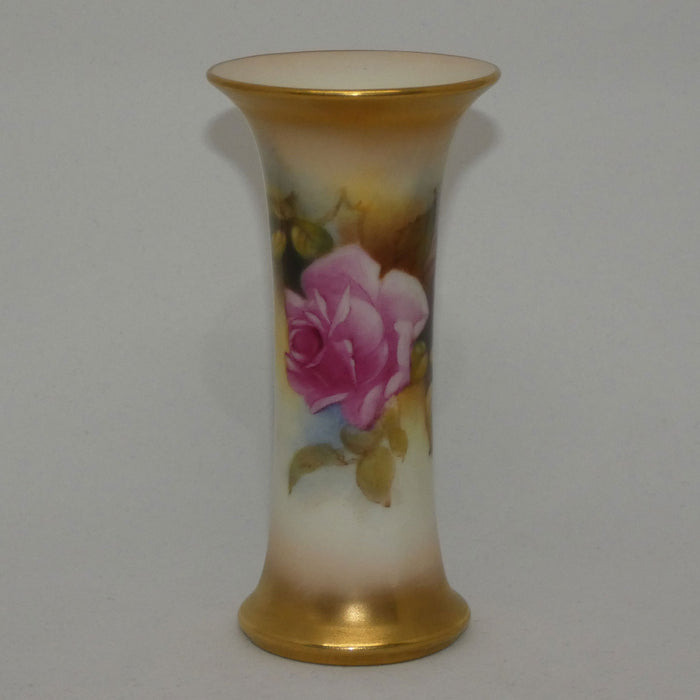 Royal Worcester hand painted roses small trumpet vase (Hunt)