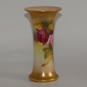 Royal Worcester hand painted roses tall trumpet vase (Hunt)