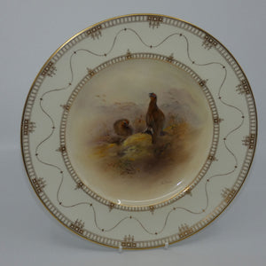Royal Worcester hand painted Game Birds Red Grouse plate (JAS Stinton)