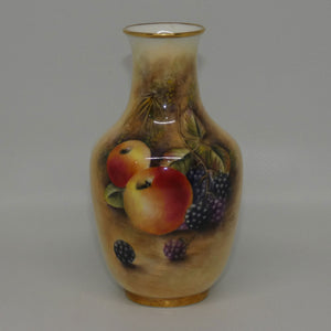 Royal Worcester hand painted fruit miniature vase (PM Platt)