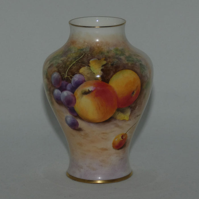 Royal Worcester hand painted fruit miniature vase (Reed)